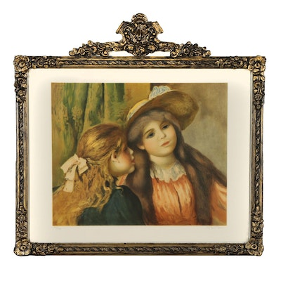 "Color Lithograph after Pierre-Auguste Renoir ""Portrait de Deux Fillettes"""