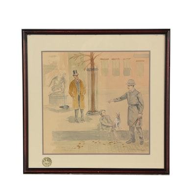 Rudyard W. Kipling Watercolor Painting after Joseph Henry Sharp