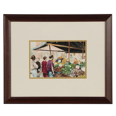 Carol Brockman Watercolor Painting of Market Scene