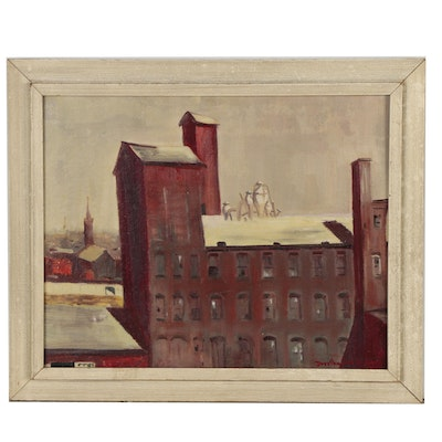 Dorothy Solt Yauger 1954 Oil Painting of Architectural Scene