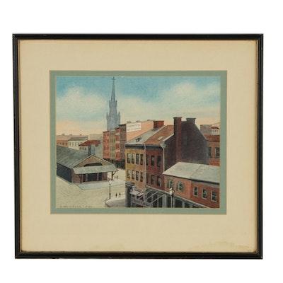 A. Weierich 1958 Watercolor Painting of Cincinnati 5th Street Market