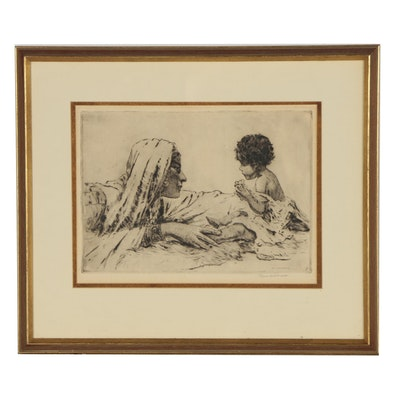 """Paul Ashbrook Figural Etching """"Bedouin Mother"""""""