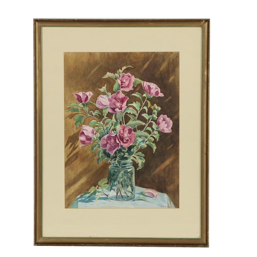 Frederick William Kolde Watercolor Painting of Floral Still Life