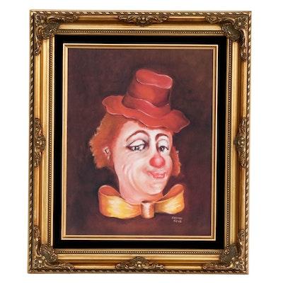 DeLongo Clown Offset Lithograph on Canvas