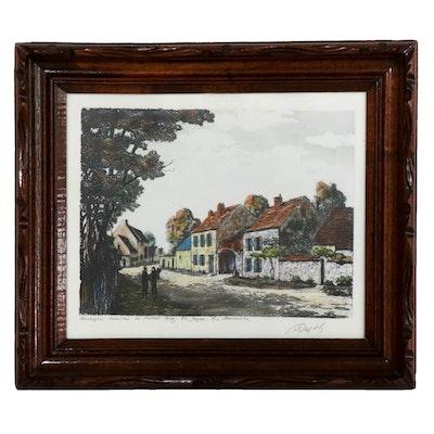 """Maurice Jacque Hand-Colored Etching """"Barbizon – Maisons de Millet"""""""