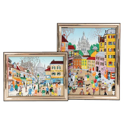 Mid Century Parisian Street Scene Serigraphs on Canvas