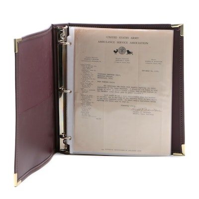 Ernest Hemingway Letters, Bulletins, and Ephemera in Faux Leather Binder, 1930s