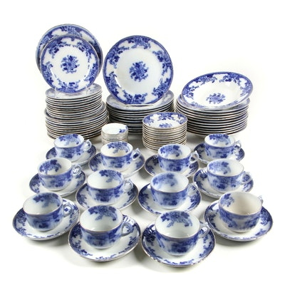 Thomas Hughes & Son Semi-Porcelain Flow Blue Luncheon Pieces, 1895-1910
