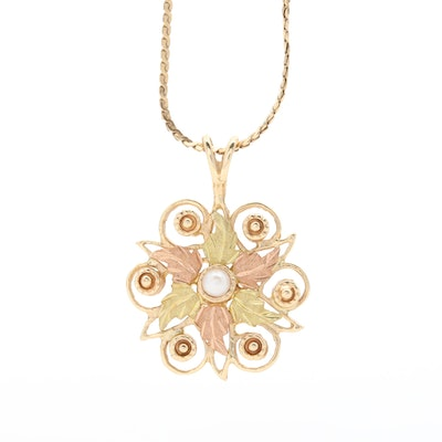 10K Yellow and Rose Gold Cultured Pearl Filigree Pendant Necklace