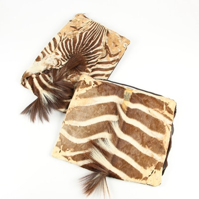 Plains Zebra Hide and Leather Accent Pillow Covers