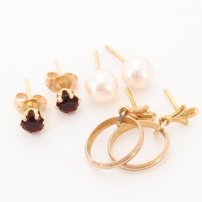 14K Yellow Gold Cultured Pearl and Glass Earrings