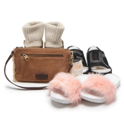 UGG Saela Rib Knit Cuff Suede Boot, Suede Wristlet and Other UGG Shoes