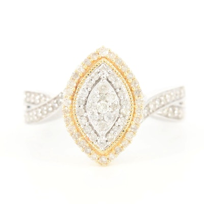 10K White Gold Diamond Ring with Yellow Gold Accent