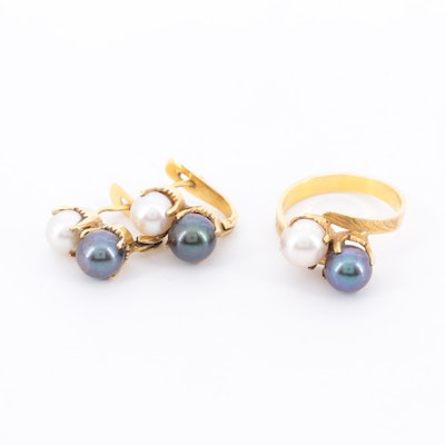 Cultured Pearl Ring and Earring Set