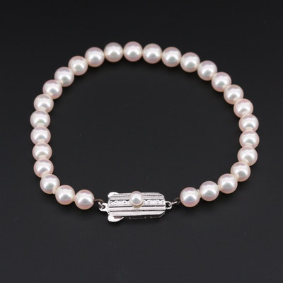 Mikimoto Sterling Silver Cultured Pearl Bracelet