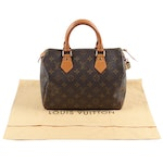 Louis Vuitton Paris Speedy 25 Bag in Monogram Canvas & Leather, Made in USA