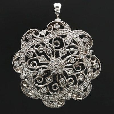 Belle Époque Style 14K White Gold Diamond Openwork Converter Brooch