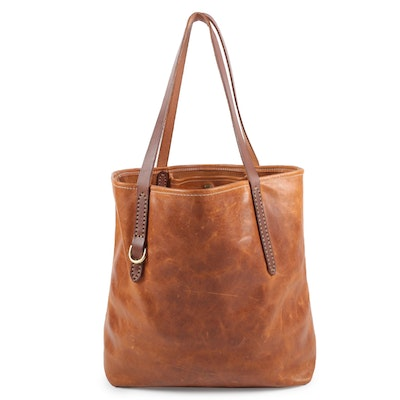 Fount of Cleveland Goldenrod Two-Tone Leather Tote