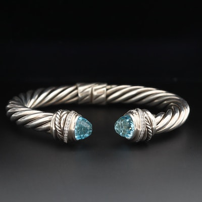 "David Yurman ""Crossover"" Sterling Silver Blue Topaz and Diamond Hinged Cuff"