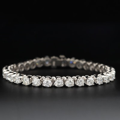 14K White Gold 8.92 CTW Diamond Tennis Bracelet