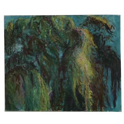 "Richard Snyder Abstract Oil Painting ""Weeping Willow"", 1989"