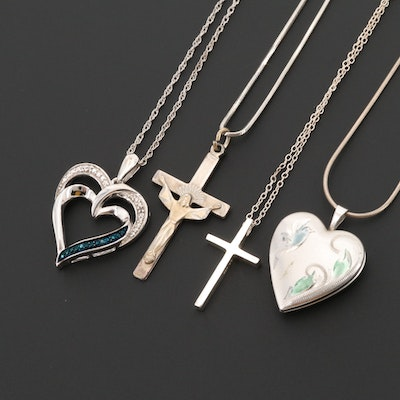 Sterling Silver Necklaces With Cross Pendants and Diamond Heart Pendant