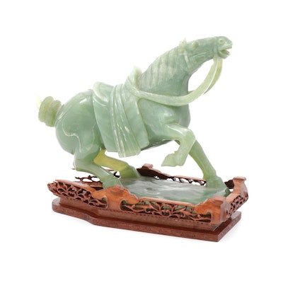 Chinese Carved Jade Warhorse on Wood Stand