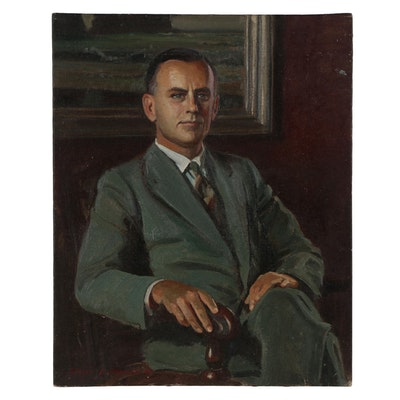 Edmond Fitzgerald Oil Portrait of Seated Man