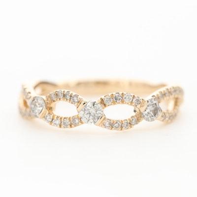 10K Yellow Gold Diamond Crossover Ring