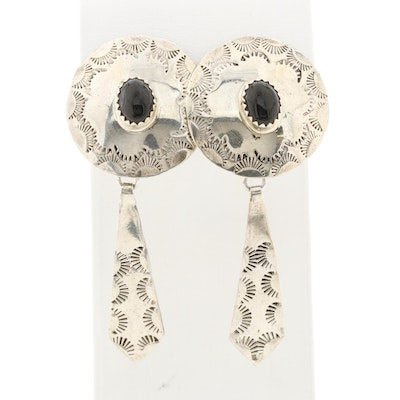 Southwestern Style Sterling Silver Black Onyx Earrings