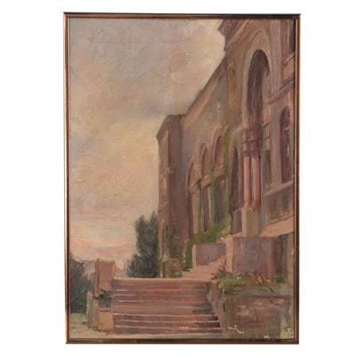 Early 20th Century Oil Painting of Architectural Street Scene