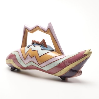 Abstract Multi-Color Lidded Teapot with Zig-Zag Motif, Mid to Late 20th Century