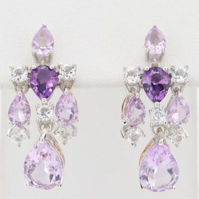 Sterling Silver Amethyst and Topaz Dangle Earrings