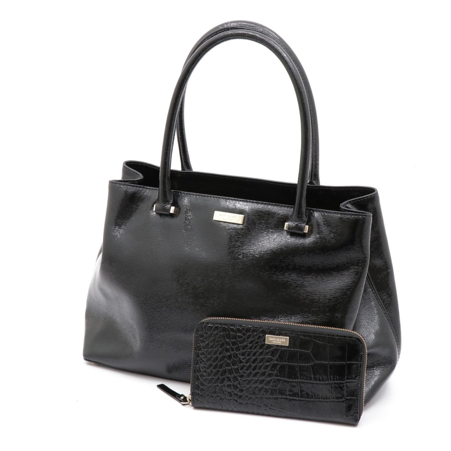 Kate Spade New York Patent Leather Tote Bag and Alligator Embossed Zip Wallet