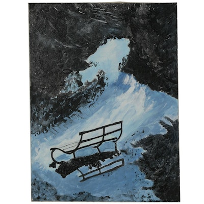 "Rebecca Sharfman Acrylic Painting ""Benches"""