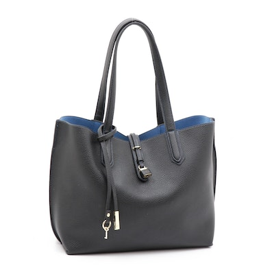 Tutilo Black Pebbled Faux Leather Tote Bag with Pouch in Blue Contrast Stitching