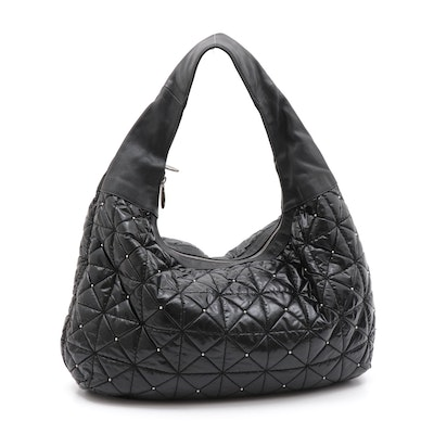 Furla Black Pebbled Leather and Quilted Nylon Bag