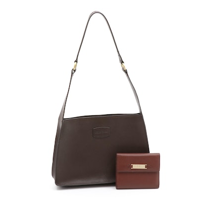 Cole Haan Brown Leather Shoulder Bag with Saddle Brown Leather Wallet