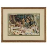 Paul Ashbrook Watercolor Painting of Figural Market Scene