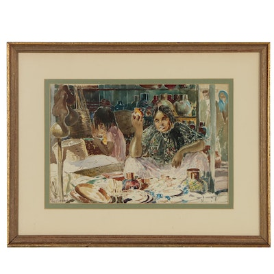 Paul Ashbrook Watercolor Painting of Figural Market Scene