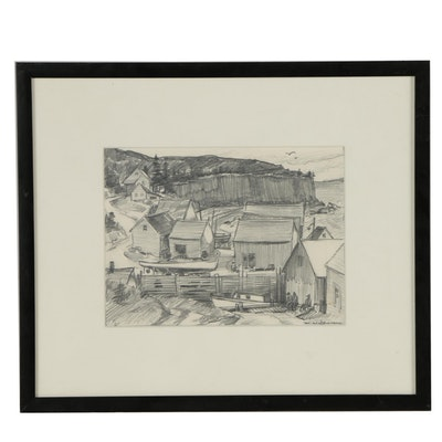 Merton Willmore Graphite Landscape Drawing of Harbor Scene
