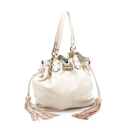 Mulberry Tasseled Drawstring Soft Leather Shoulder Bag with Tassels