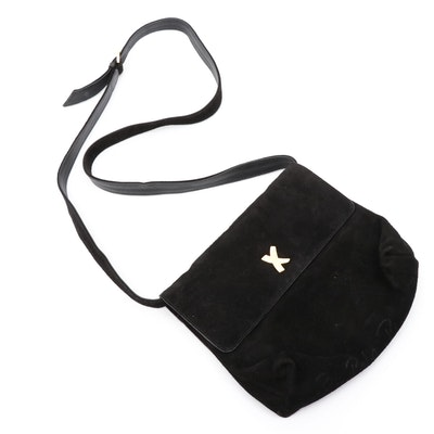 Paloma Picasso Black Suede Convertible Crossbody Bag