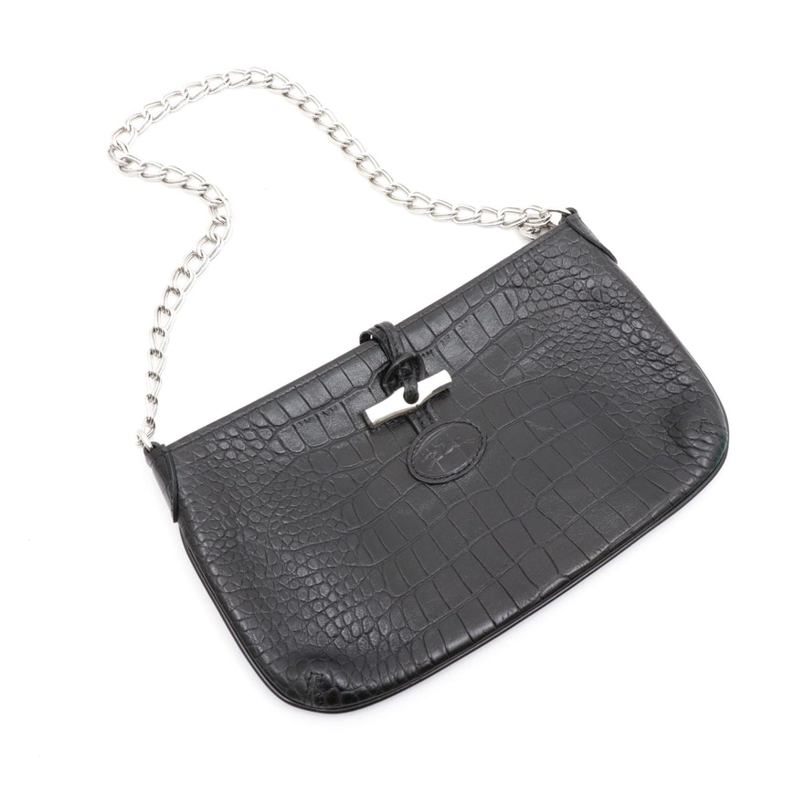 Longchamp Embossed Black Leather Shoulder Bag with Chain Strap