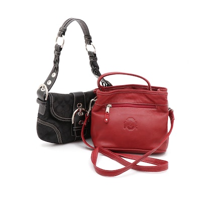 Red Leather Ohio State and Coach Black Monogram Canvas and Leather Shoulder Bags