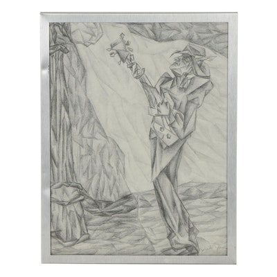 Late 20th Century Figural Graphite Drawing of Guitar Player