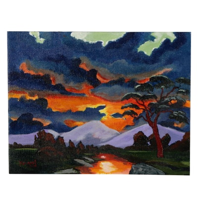 "Brian Johnpeer Landscape Acrylic Painting ""An August Evening"""
