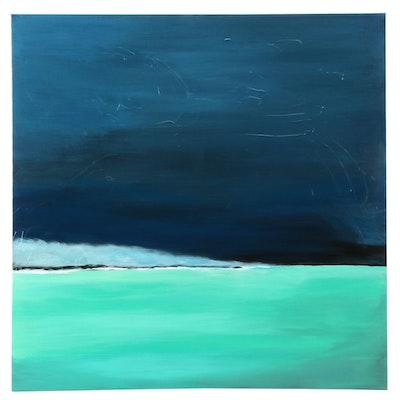 "Neville Shenton Acrylic Painting ""Blue Mist"""