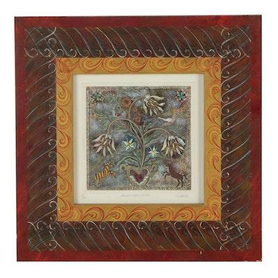 "C.L. Noah Hand-Colored Etching ""Rejoicing Lilies"""