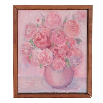 Late 20th Century Oil Painting of Floral Still Life